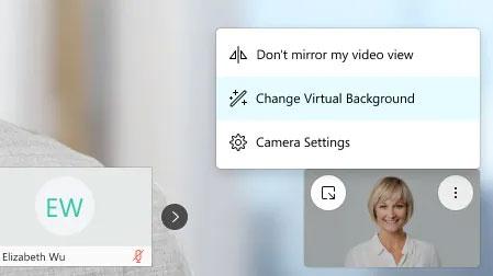 """Nhấp vào tính năng """"Change virtual background"""""""