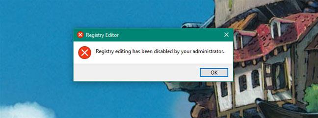 Registry Editor đã bị vô hiệu hóa bởi quản trị viên