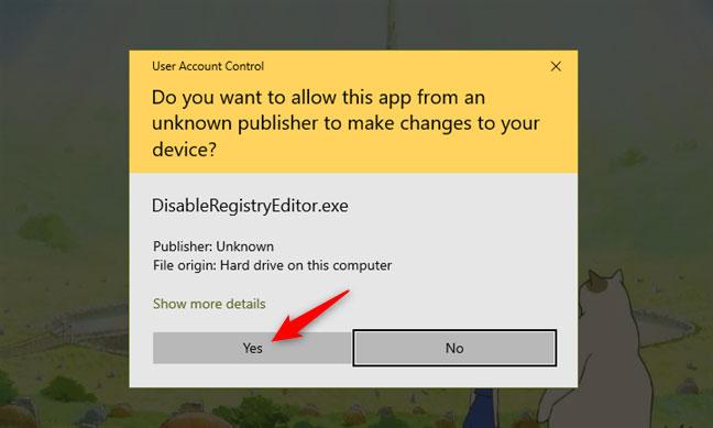 Cho phép DisableRegistryEditor.exe chạy, với quyền admin