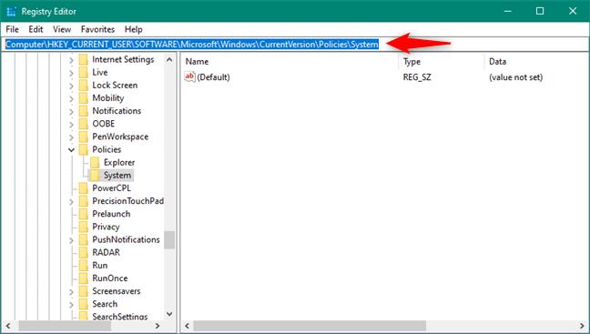 Đi đến vị trí ComputerHKEY_CURRENT_USERSOFTWAREMicrosoftWindowsCurrentVersionPoliciesSystem