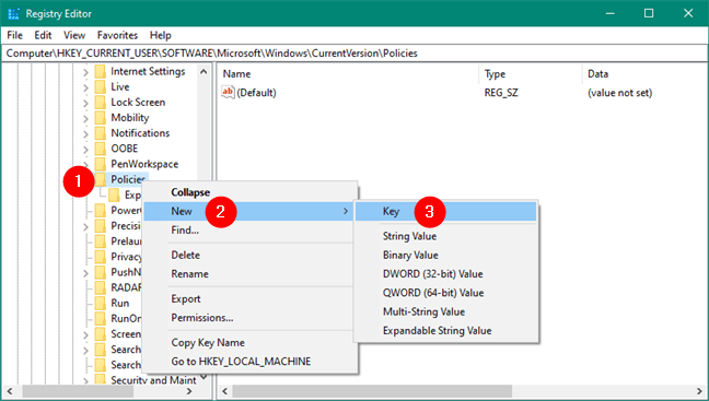 Tạo key mới trong Windows Registry
