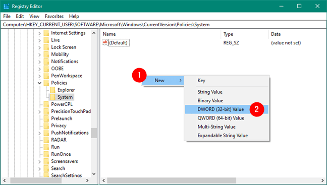 Tạo giá trị DWORD (32-bit) mới trong Registry Editor