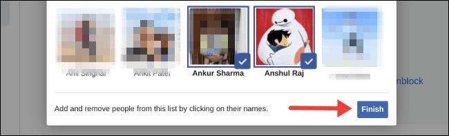 Click chọn những người bạn mà bạn muốn hạn chế