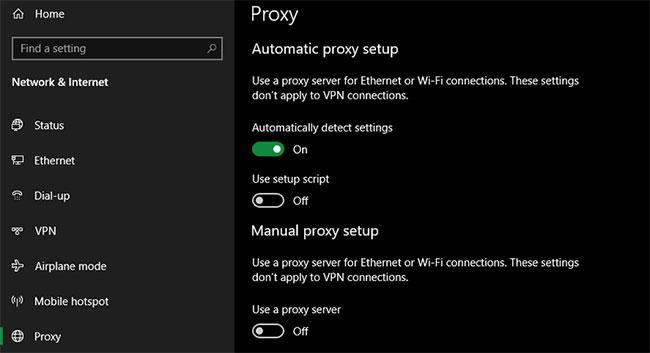Xem lại cài đặt proxy trong Windows