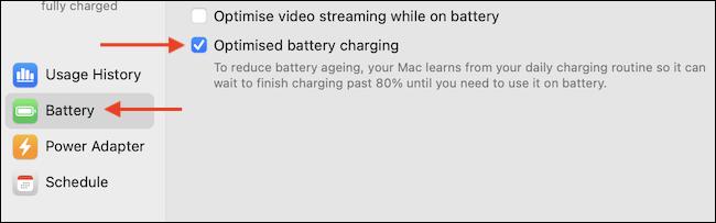 """Bỏ tích tùy chọn """"Optimized Battery Charging"""""""