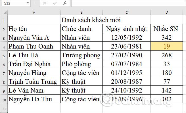 Cách theo dõi sinh nhật nhân viên, học sinh trong Excel - Ảnh minh hoạ 7