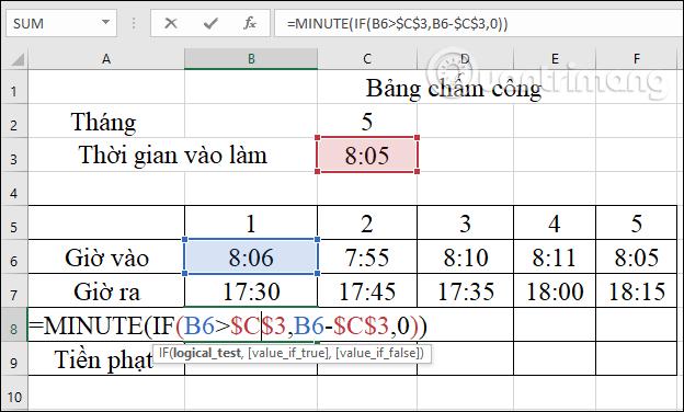 Cách tính tiền phạt đi muộn trong Excel - Ảnh minh hoạ 2