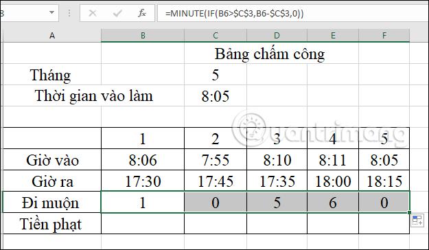 Cách tính tiền phạt đi muộn trong Excel - Ảnh minh hoạ 3