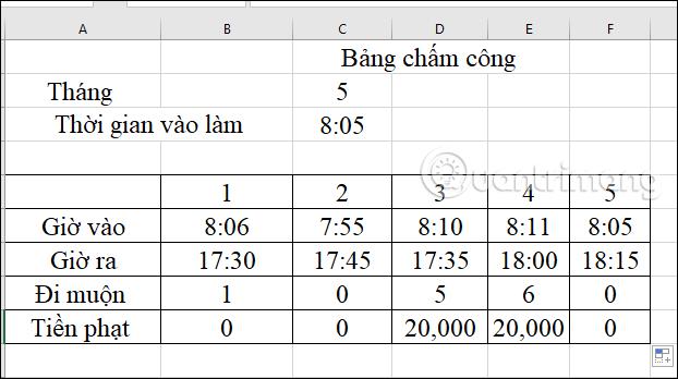 Cách tính tiền phạt đi muộn trong Excel - Ảnh minh hoạ 5