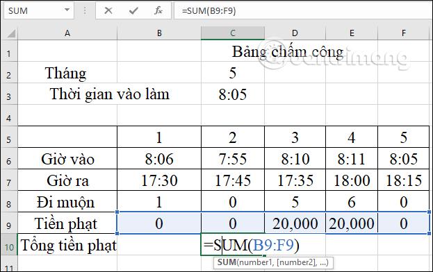 Cách tính tiền phạt đi muộn trong Excel - Ảnh minh hoạ 6