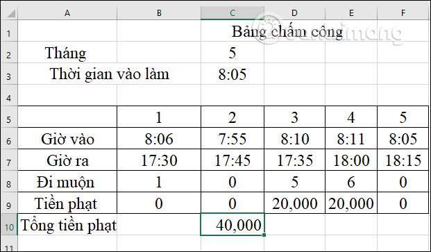 Cách tính tiền phạt đi muộn trong Excel - Ảnh minh hoạ 7