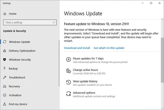 Windows 10 21H1 dưới dạng bản cập nhật tính năng tùy chọn