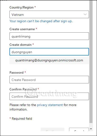 Thông tin tài khoản Office 365