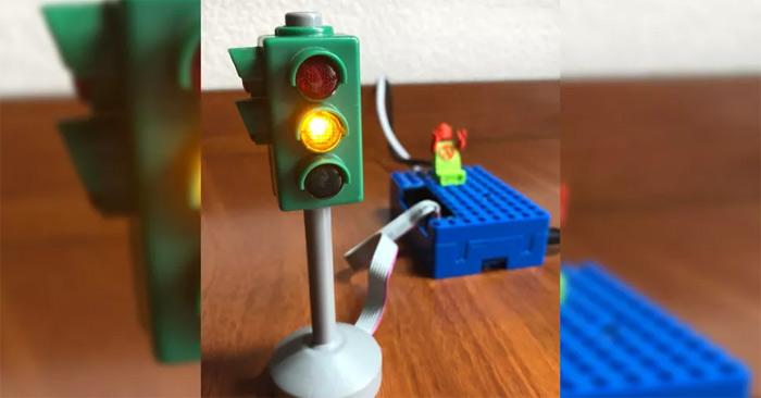 Raspberry Pi kết hợp với đèn giao thông để trở thành thứ đo chất lượng không khí.