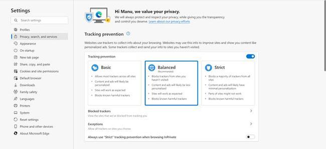 Chặn trình theo dõi trong Microsoft Edge