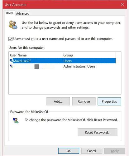 Chuyển nhóm tài khoản trong Windows 10 bằng Netplwiz