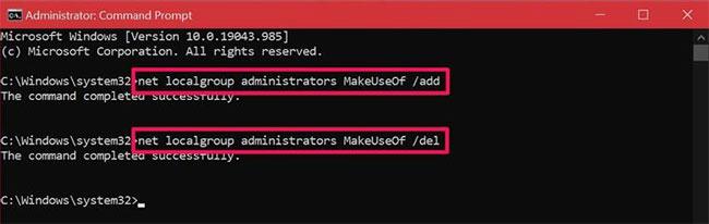 Sử dụng Command Prompt để thay đổi loại tài khoản trong Windows 10
