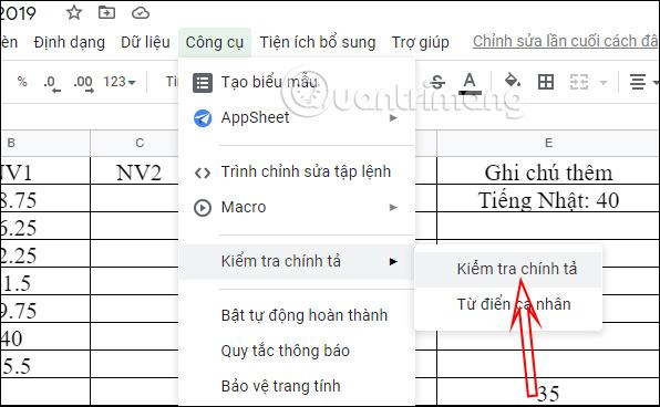 Cách kiểm tra chính tả trong Google Sheets