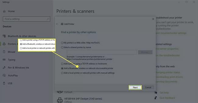 Chọn biểu tượng Printer