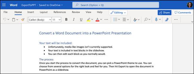 Cách chuyển đổi, xuất file tài liệu Word thành bài trình chiếu PowerPoint