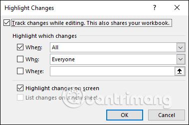 Cách dùng Track Changes trong Excel - Ảnh minh hoạ 4