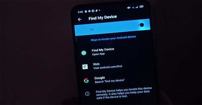 Google's Find My Device service.