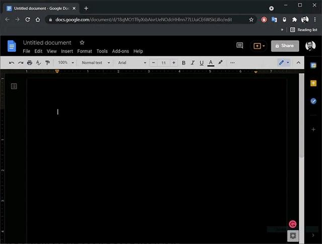Nền tối đã được áp dụng trong Google Docs