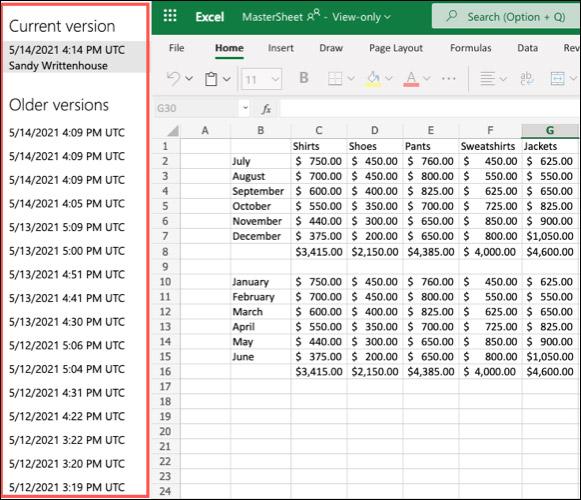 Cách xem lịch sử chỉnh sửa file trong Microsoft Excel Online - Ảnh minh hoạ 2