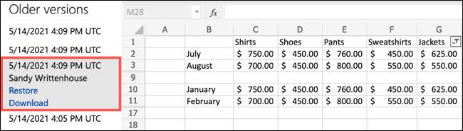 Cách xem lịch sử chỉnh sửa file trong Microsoft Excel Online - Ảnh minh hoạ 3