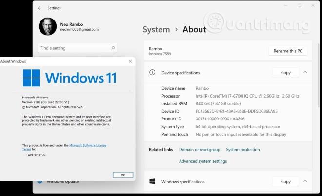 Còn đây là cấu hình máy tính cá nhân, trước đó bị PC Health Check bảo là không cài được Windows 11
