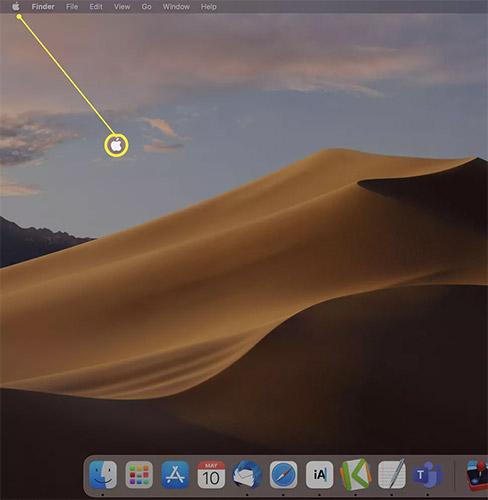 Nhấp vào biểu tượng Apple