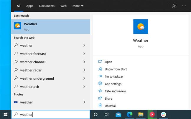 Cách hiển thị nhiệt độ bằng °C hoặc °F trong ứng dụng Weather trên Windows 10