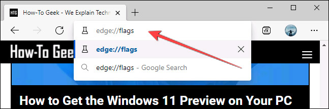 """Nhập từ khóa """"edge://flags"""""""