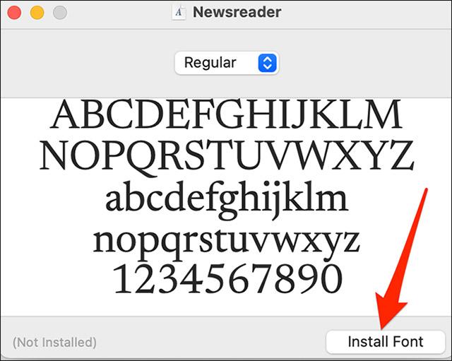 """Nhấp vào """"Install Font"""""""