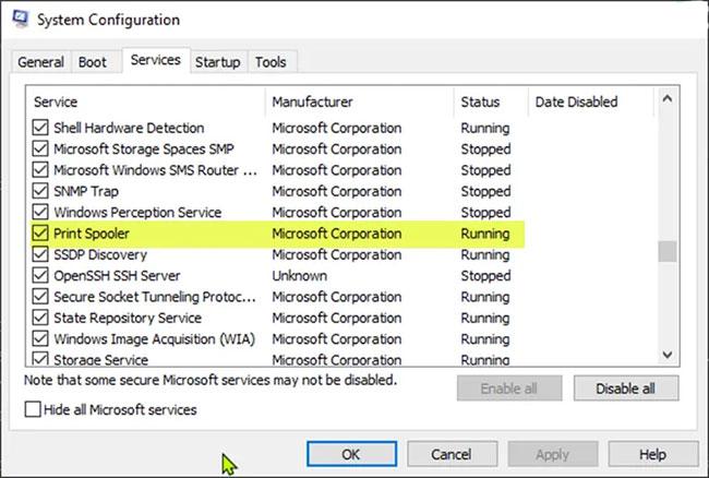Vô hiệu hóa service Print Spooler qua System Configuration