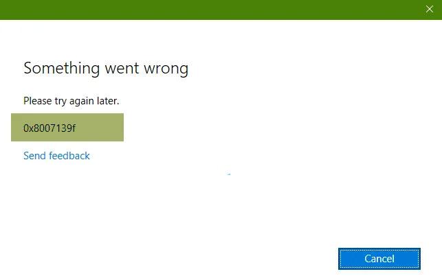 Mã lỗi 0x8007139f với tài khoản Microsoft