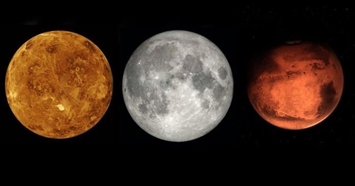 Mặt Trăng, sao Kim, sao Hỏa sẽ nằm trên một đường thẳng vào tối nay, 12/7, có thể quan sát bằng mắt thường
