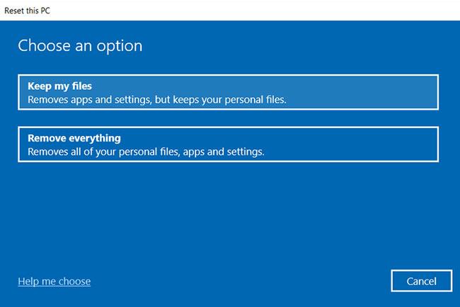 Reset lại thiết bị Windows 10