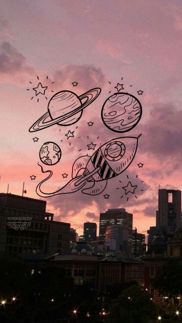 hình nền vũ trụ cute dễ thương