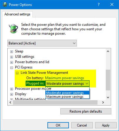 "Cách thêm/xóa ""Link State Power Management"" khỏi Power Options trong Windows 10"