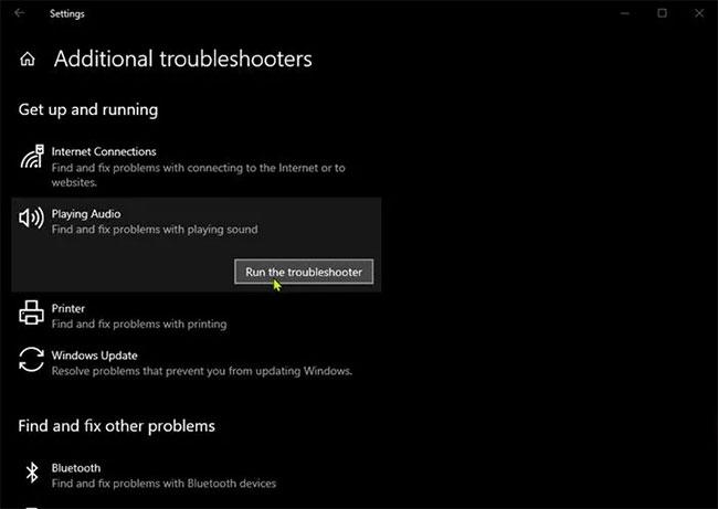 Khắc phục sự cố Dolby Atmos không hoạt động bằng cách chạy Audio Troubleshooter tích hợp sẵn của Windows 10