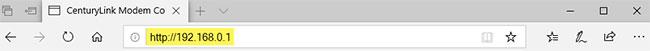 Nhập URL cho giao diện người dùng modem