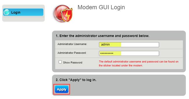 Đăng nhập vào giao diện modem bằng tên người dùng và mật khẩu quản trị viên