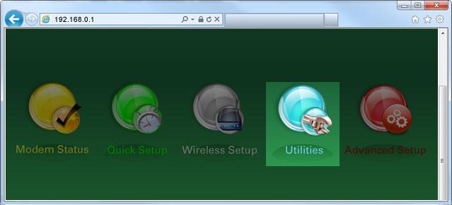 Menu tiện ích trong GUI modem