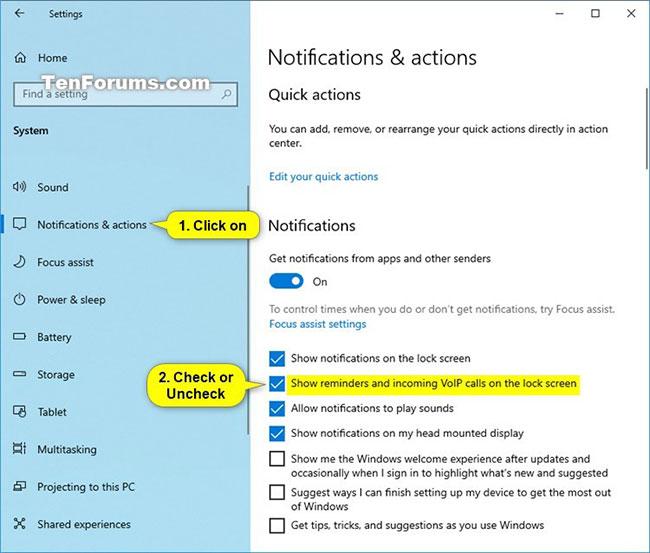 Cách bật/tắt lời nhắc trên màn hình khóa và thông báo cuộc gọi VoIP trong Windows 10