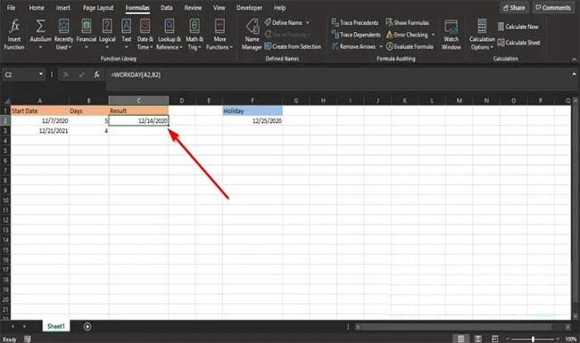 Cách sử dụng hàm WORKDAY trong Microsoft Excel - Ảnh minh hoạ 2