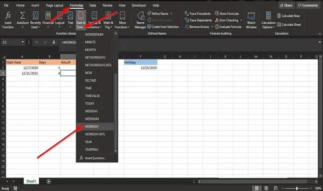 Cách sử dụng hàm WORKDAY trong Microsoft Excel - Ảnh minh hoạ 7