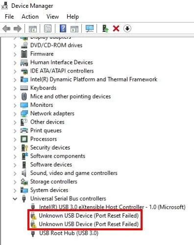 Lỗi Thiết bị USB không xác định, Đặt lại Cổng không thành công trên Windows 11/10