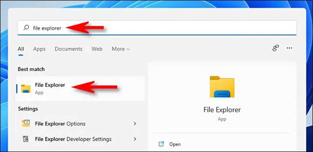 Click on the icon File Explorer returns
