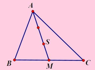 Xác định trọng tâm tam giác dựa trên tỉ lệ đường trung tuyến.